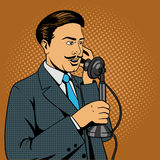 Man talking on the vintage phone vector Royalty Free Stock Images