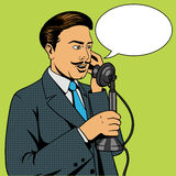 Man talking on the vintage phone vector Royalty Free Stock Photo