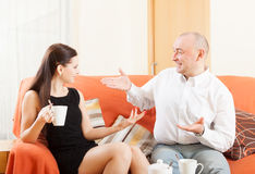 Man   talking with  woman Royalty Free Stock Photography