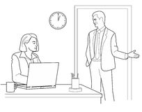 Man talking with a Woman up at the office. Black  illustration isolated on white background.  Royalty Free Stock Images