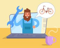 Man talks about bicycles on the blog. Vector. Cartoon. Isolated art Royalty Free Stock Image