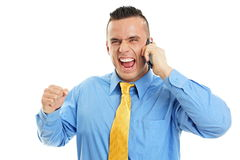 Man talks into mobile phone Stock Image