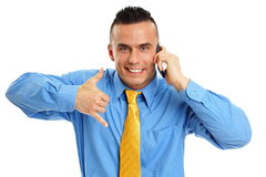 Man talks into mobile phone Royalty Free Stock Photo