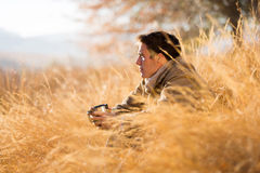 Man tall grass autumn royalty free stock image