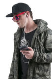 Man with tangled headphones Stock Photos