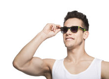 Man In Tanktop Holding Goggle Stock Images