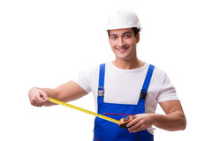 The man with tape measure isolated on white Stock Image