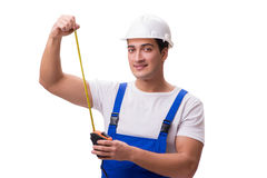 The man with tape measure isolated on white Royalty Free Stock Photos