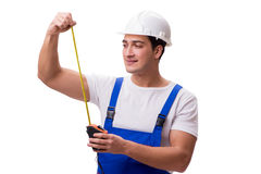 The man with tape measure isolated on white Stock Photography
