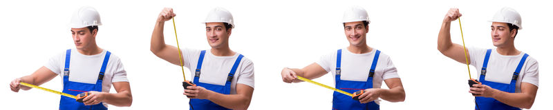 The man with tape measure isolated on white Royalty Free Stock Photo