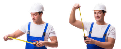 The man with tape measure isolated on white Stock Photos