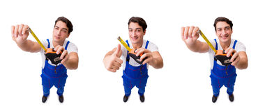 The man with tape measure isolated on white Royalty Free Stock Image