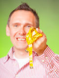 Man with tape Royalty Free Stock Image