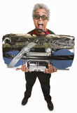 Man with Taped Boom Box Royalty Free Stock Images
