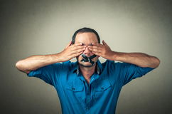 Man with the taped mouth Royalty Free Stock Images