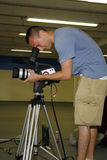 Man taping with video camera Royalty Free Stock Image