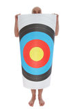 Man with target. Bald man with target on white background Stock Photo