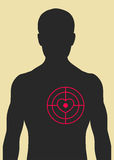 Man and target directly in the heart Royalty Free Stock Images