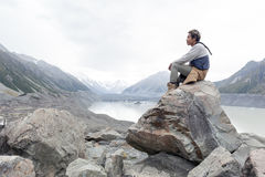 A man at Tasman Glacier viewpoint, Aoraki / Mount Cook National Park, New Zealand Stock Photos