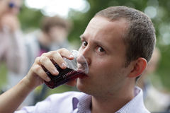 Man tastes red wine Stock Photo