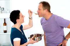 Man tasting dinner Royalty Free Stock Photography