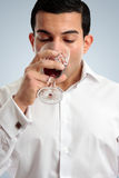 Man tasting drinking wine Royalty Free Stock Images