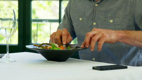 Man tasting his dish and using smartphone. In a restaurant stock footage