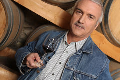 Man tasting red wine on tour Stock Photography