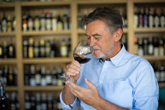 Man tasting wine. Man with a glass of red wine stock image