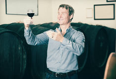 Man tasting wine before purchasing it in winery. Portrait adult man tasting wine before purchasing it in wine cellar Stock Photo