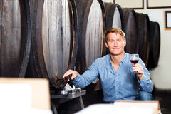 Man tasting wine before purchasing it in winery. Portrait of cheerful man tasting wine before purchasing it in winery Royalty Free Stock Photos