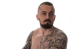 Man With Tattoo And Beard On White Background Royalty Free Stock Photo