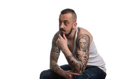 Man With Tattoo And Beard On White Background Royalty Free Stock Image