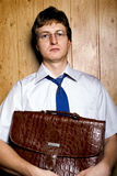 Man teacher. Intellegentnyy man with a brief-case Royalty Free Stock Images