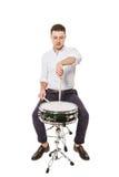 Man teacher drumming Stock Image