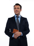 Man teacher holding book smiling Stock Images