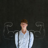 Man with chalk healthy strong arm muscles for success. Man teacher, salesman, student or businessman with chalk healthy strong arm muscles for success royalty free stock photos