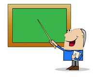 Man a teacher shows on a school board a pointer Royalty Free Stock Image