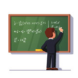 Man teacher or student writing on class chalkboard. Rear view of man teacher or student writing formulas on a green classroom chalkboard holding chalk in right royalty free illustration