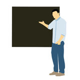 Man teaching. Man description giving information and teaching or talking of subjects on board Stock Photo