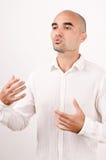 Man teaching, explaining, talking. Stock Images
