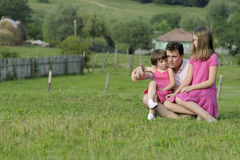 Man teaching kids in nature Stock Photography