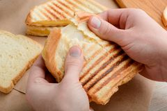 Man tearing a sandwich apart. Man tearing a freshly made sandwich apart. Grilled crust and melted gooey cheese. Traditional American snacks royalty free stock photography