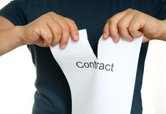 Man tears paper. Hands of the men tearing up paper that says Contract Royalty Free Stock Photo