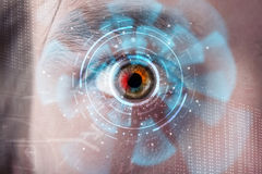 Man with technology screen eye panel. Futuristic modern cyber man with technology screen eye panel concept Stock Image