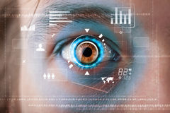 Man with technology screen eye panel Stock Photography