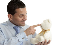 Man with teddy bear Royalty Free Stock Photos