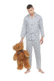 Man with teddy bear. Stock Photos