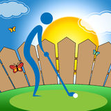 Man Teeing Off Represents Golf Course And Fairway Royalty Free Stock Image