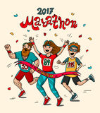 Man, teenager and woman runner cross the finish line. Cartoon style. Marathon 2017. Royalty Free Stock Image